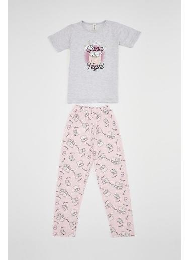 Defacto –Fit Kuzu Baskılı Kısa Kollu Pijama Takımı Gri